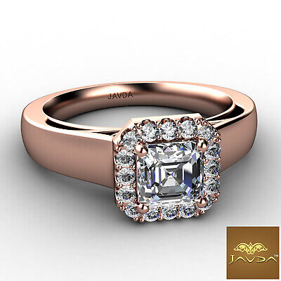 Asscher Diamond Engagement GIA H VVS2 18k White Gold Halo Pave Set Ring 0.7Ct 9