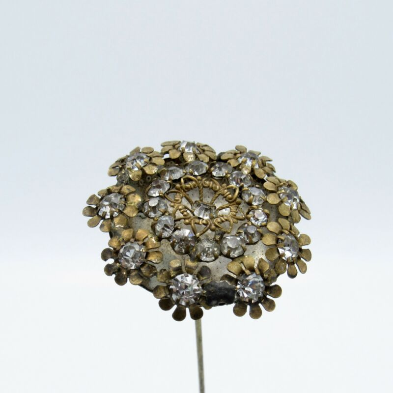 Antique Flower Patterned Rhinestone Hat Pin, HATPIN