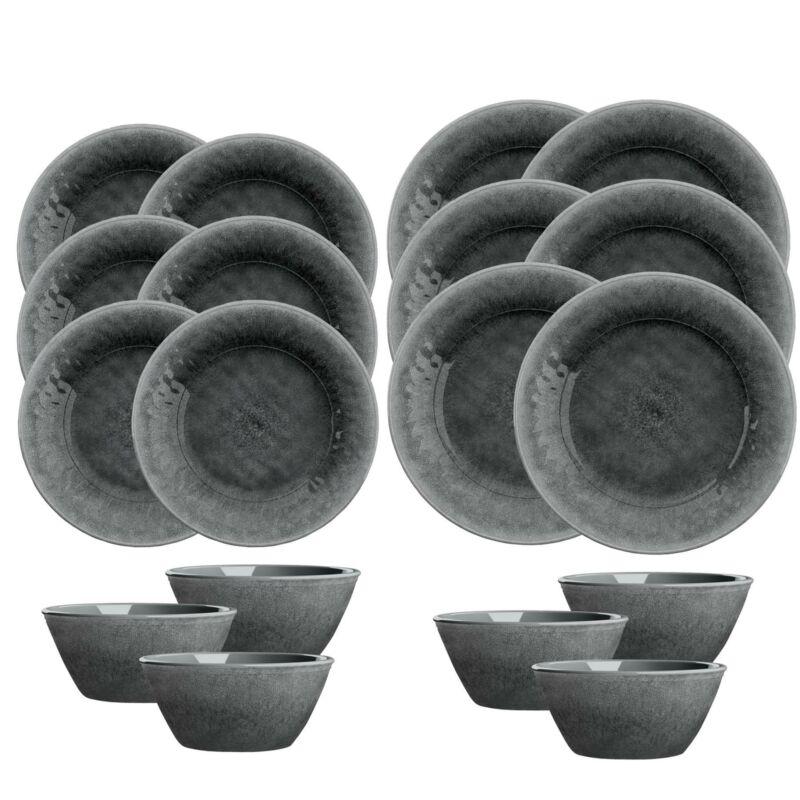Potters Reactive Glaze - Grey   - Melamine 18 Piece Outdoor Dinnerware