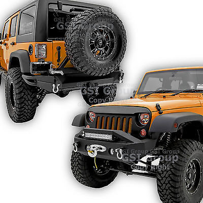 """Front+Rear Bumper+Tire Carrier+2"""" Hitch+Dual Plate For 07-18 Jeep JK Wrangler"""