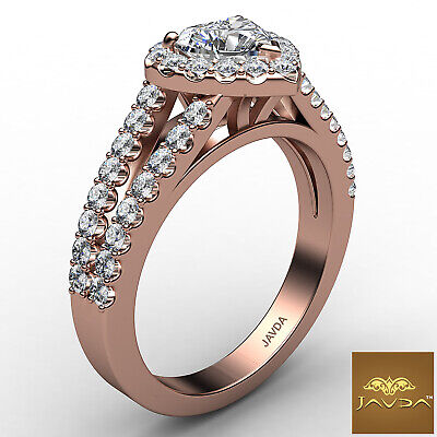 Halo French Pave Split Shank Heart Cut Diamond Engagement Ring GIA F VS1 1.25Ct 10