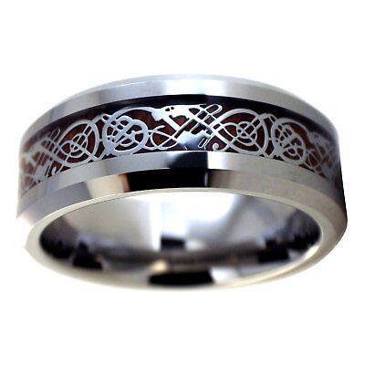 Viking Celtic Dragon Tungsten Ring Mens Womens Wood Inlay Wedding Band Size 6-17