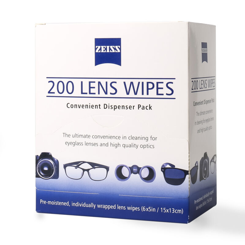 Zeiss Pre-Moistened Lens Cloths Wipes 200 Ct Glasses Camera Phone Cleaning New