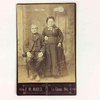 Victorian Couple Man Woman Studio Portrait Cabinet Photo Black White 1800s