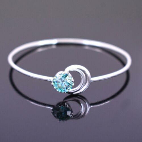 3 Ct Certified Blue Diamond Solitaire Bangle, Great Shine & Luster WATCH VIDEO