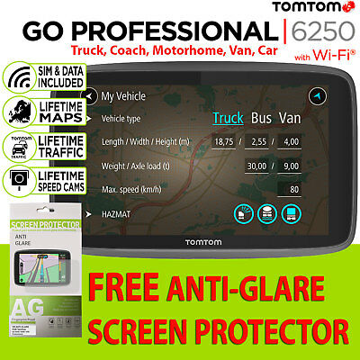 NEW TomTom GO Professional 6250 Lifetime Maps & Traffic Sat Nav Trucker Truck