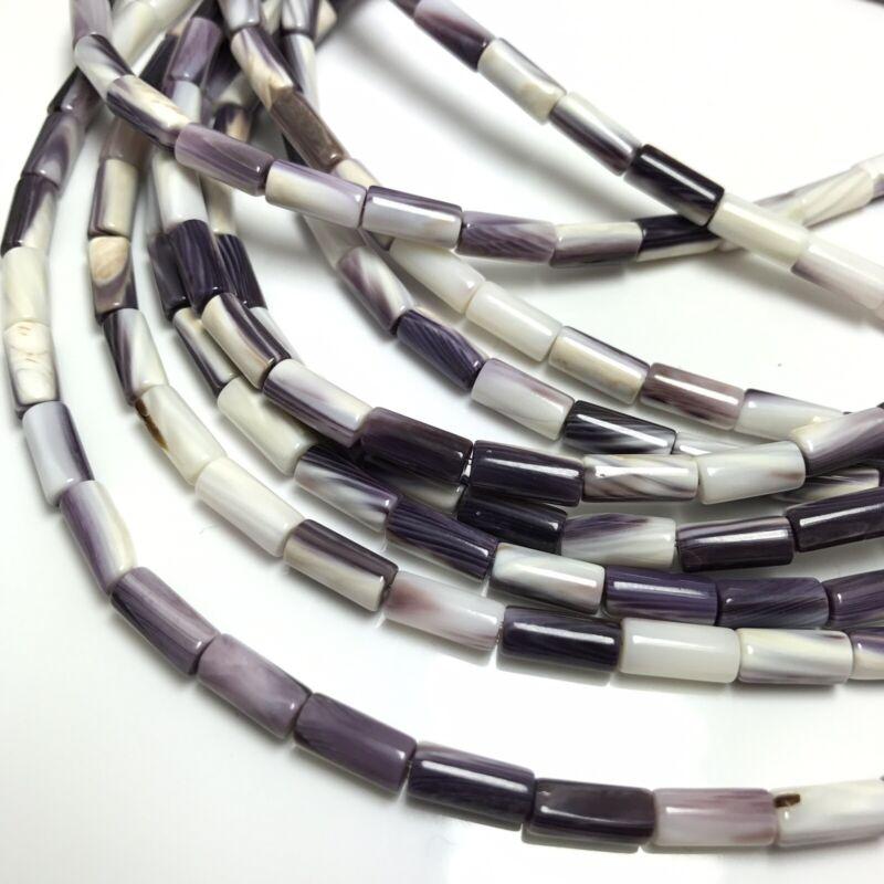 "15.5"" - Natural Purple Wampum Quahog Shell 9mm Wampum Beads HQ, NEW DIY Special"