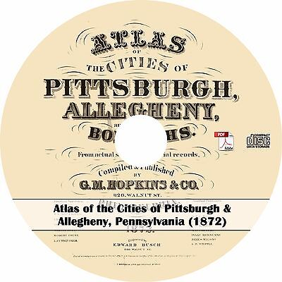 1872 Atlas of the Cities of Pittsburgh & Allegheny, Pennsylvania - Maps Book  CD
