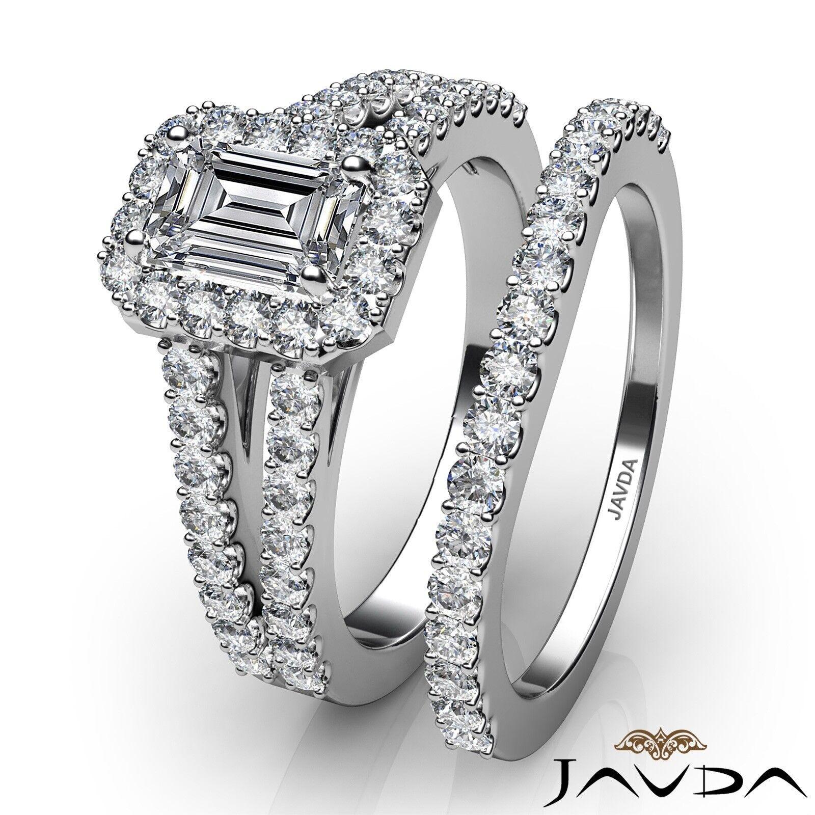 1.75ctw Halo Sidestone Bridal Emerald Diamond Engagement Ring GIA H-VS2 W Gold 3