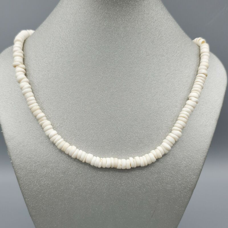 """Genuine Natural White 6.5mm Puka Shell Necklace 16"""""""
