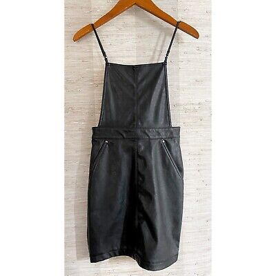H&M Divided Size 2 Black Faux Leather Overall Mini Dress