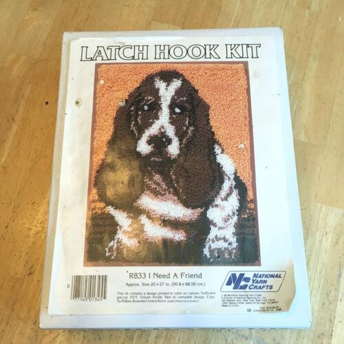 National Yarn Crafts Latch Hook Kit I NEED A FRIEND #R833 20x27 Basset Hound Dog