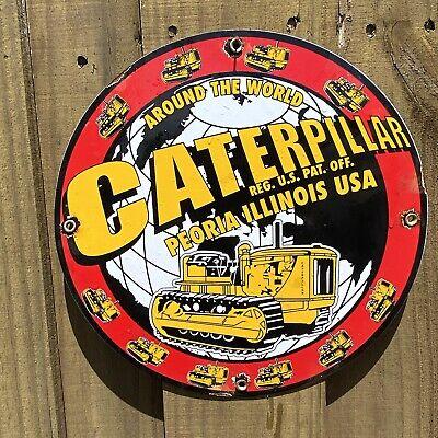 "Vintage Caterpillar Porcelain Truck Bulldozer Tractor Farm 12"" Barn Gas Oil Sign"