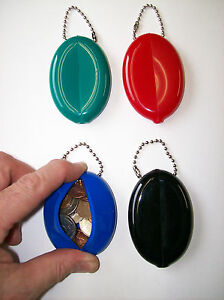 4 pc FLEXIBLE RUBBER POCKET SQUEEZE COIN PURSE MONEY COIN CHANGE KEYCHAIN QUIKEY