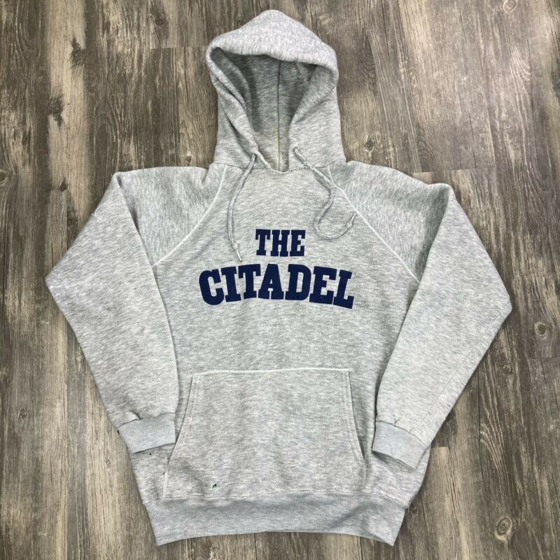 Vintage Navy School Hoodie Large Tri Blend The Citadel Sportsware Sweatshirt