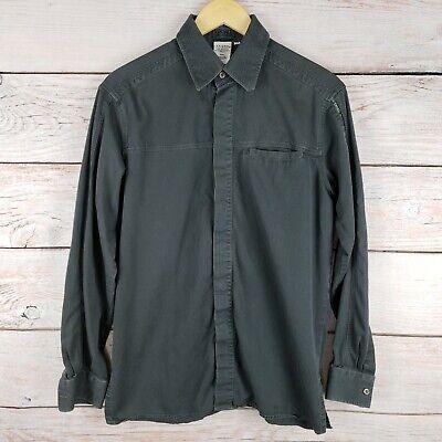 Versace Ittierre Men's Medium Long Sleeve Button Up Shirt, Gray, Hidden Buttons