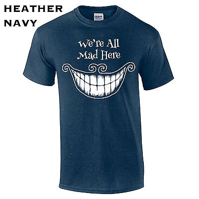 Crazy Hatter Costume (569 We're all mad here Mens T-Shirt funny hatter alice new cool costume crazy)