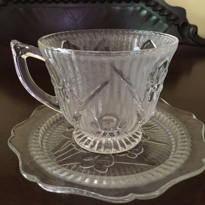 Jeannette Glass IRIS AND HERRINGBONE clear Cup and Saucer