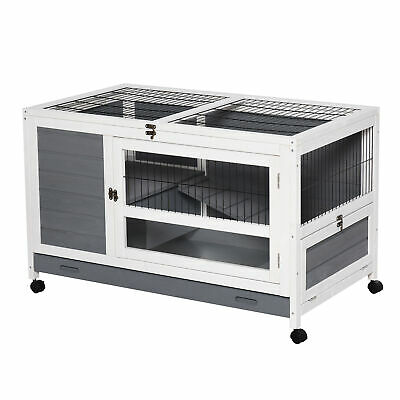 PawHut Wooden Pet House Elevated Rabbit Hutch Bunny Cage 40.25 X 23.5 X 25  - CA$191.99