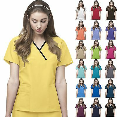 WonderWink Origins XS-3XL Women Y-Neck Fashion Medical Work Scrub Top