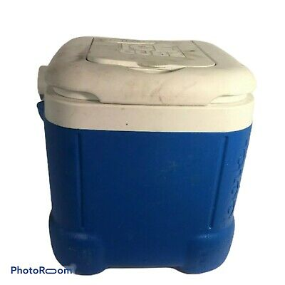 """💛 Ice Cube Igloo Cooler 12"""" x 12"""" x 12"""" Large Blue Square Drain Hinged Lid USED"""