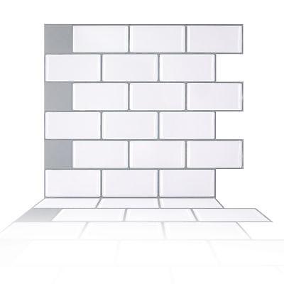 (Peel and Stick Tile Kitchen Backsplash Mosaic Sticker White Brick Subway Tile)