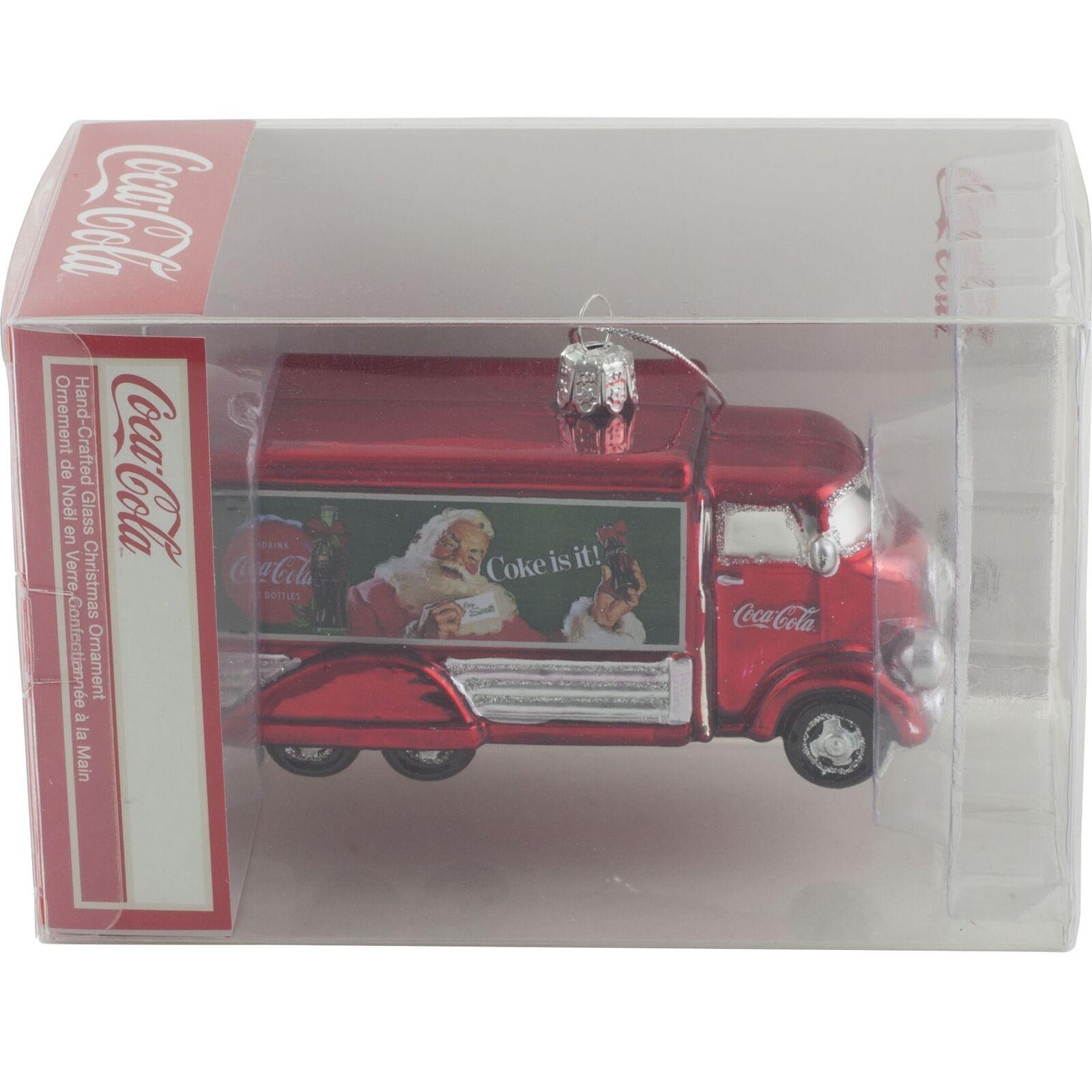 Details About Kurt Adler Coca Cola Truck Glass Christmas Tree Ornament Santa Claus