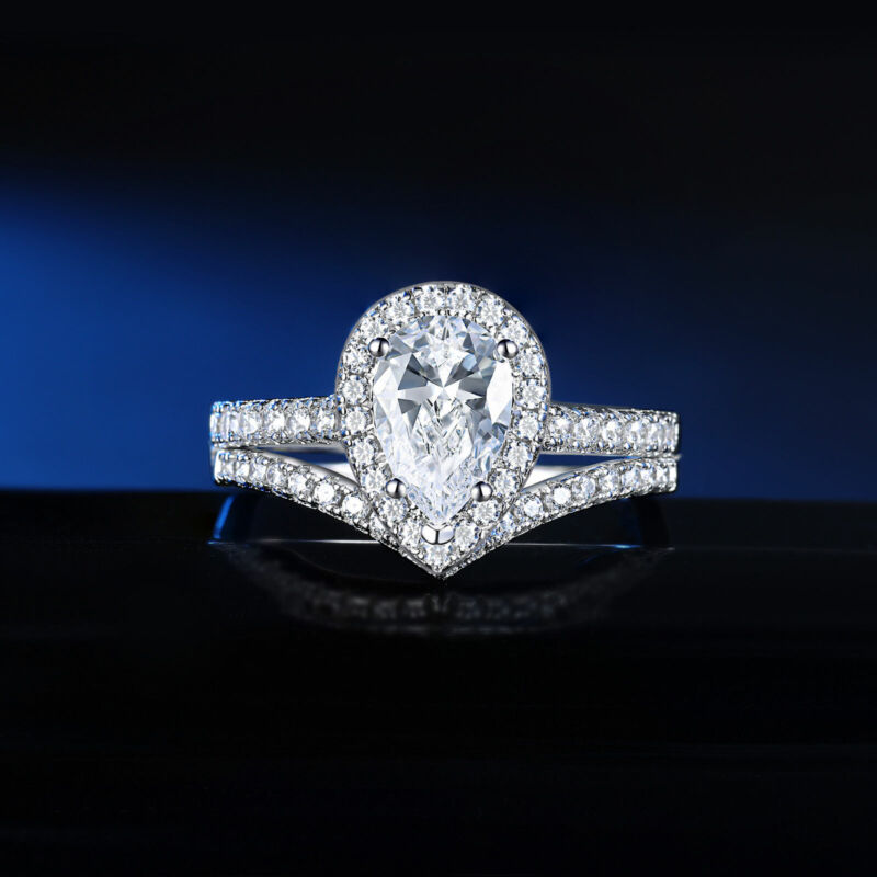Wedding Engagement Ring Set For Women 3.5ct Pear Cut Aaaa Cz 925 Sterling Silver