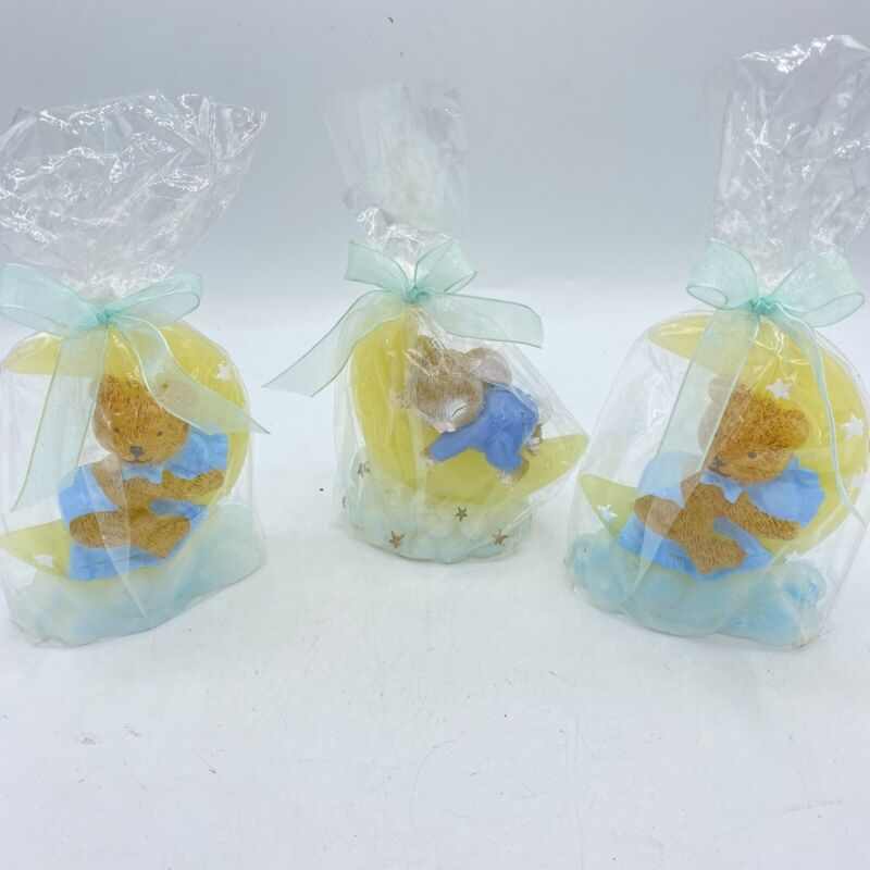 """Lot Of 3 HS Candles Moon Baby Bear Bunny 4"""" Blue Moon Candle Baby Shower Gift"""