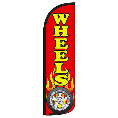 Windless Swooper Feather Flag Tall Banner Sign 3 Wide Wheels Red Yellow Flames