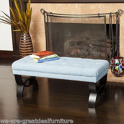 Living Room Furniture Blue Tufted Fabric Ottoman Bench w/ Crossed Legs