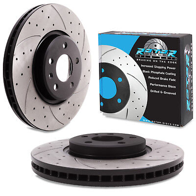 Rear Drilled and Grooved 245mm 5 Stud Solid Brake Discs with Brembo Pads