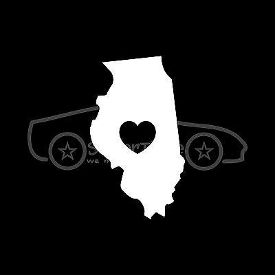 ILLINOIS LOVE Sticker Decal Car Truck Window Vinyl Heart State Travel IL Spring