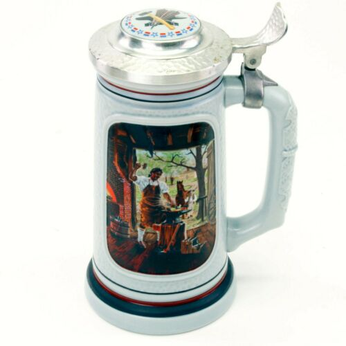 1985 Avon Lidded Beer Stein The Building of America The Blacksmith   LL43