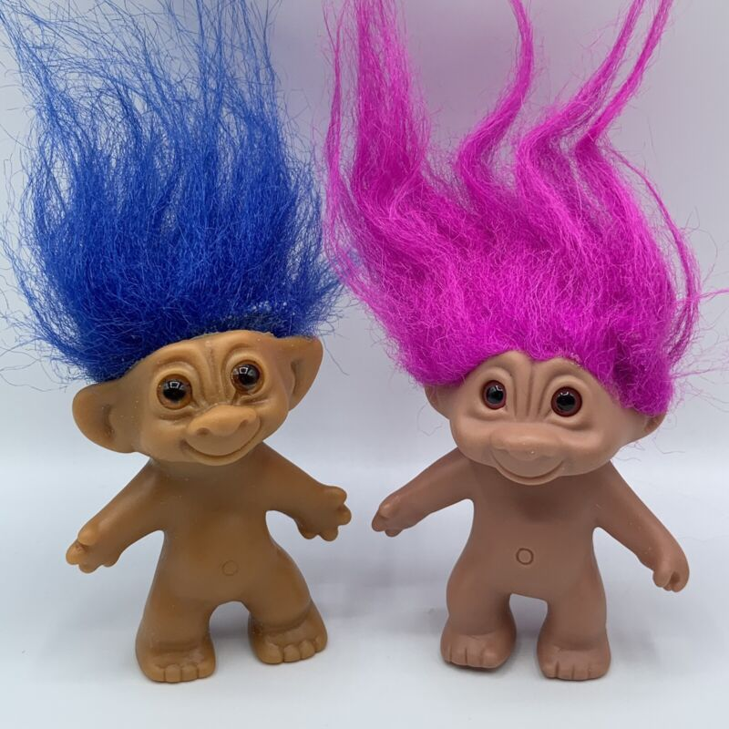 "Uneeda Wishnik Blue Vintage Good Luck and Fuchsia Troll 2.5"" Doll Lot of 2 Toys"