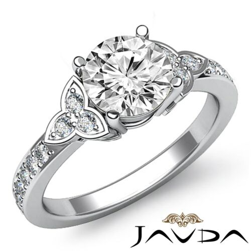 1.16ct Round Diamond 3Stone Leaf Shape Engagement Ring GIA F VVS2 14k White Gold