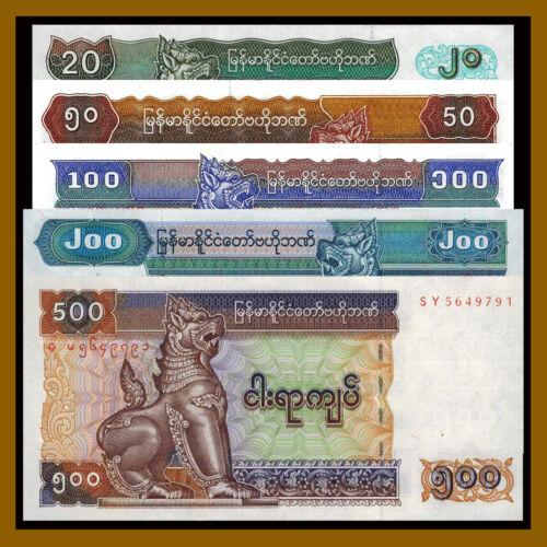 Myanmar 20 50 100 200 500 Kyats (5 Pcs Set), 1994-2004 P.72/73/74/78/79 Unc