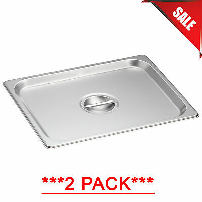 2 Pack 12 Size Solid Stainless Steel Steam Table Hotel Pan Cover Lid