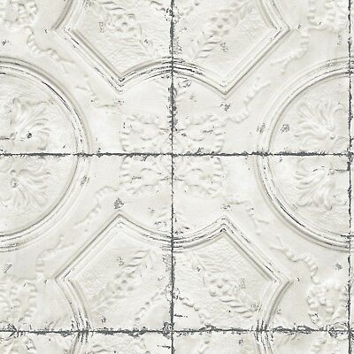 Tin Tile Wallpaper - Off White Faux Tin Embossed Ceiling Tile on Easy Walls Wallpaper 3115-12431
