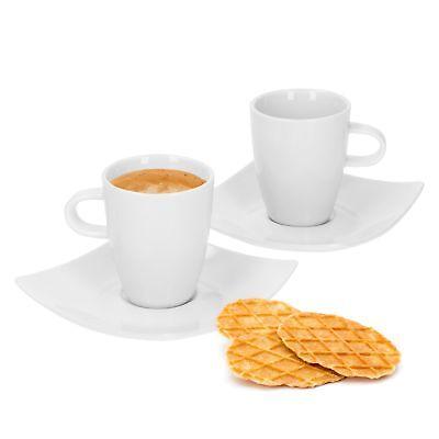 6 Espressotassen Porzellan weiß Domestic Mokkatassen Mocca Untertasse Young