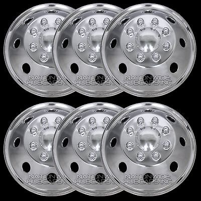 "6 Stainless Steel 16"" RV MOTORHOME Dual Wheel Simulators Rim Liner Full Covers"