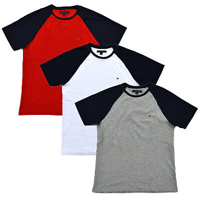 Tommy Hilfiger Mens T-shirt Raglan Crew Neck Colorblock Short Sleeve Flag -
