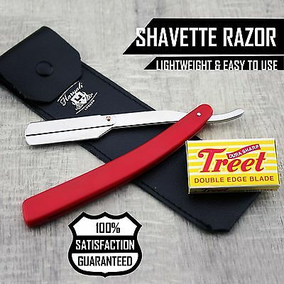 Men's Shaving Barber Shavette/Cut Throat Razor  With Leather Pouch+Half Blade