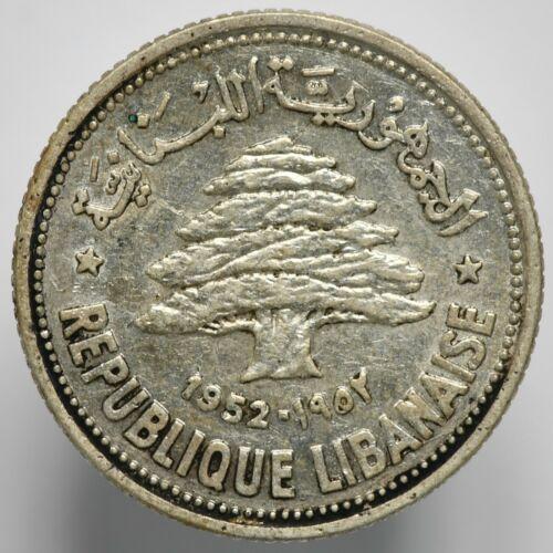 1952 Lebanon Silver 50 Piastres KM# 17