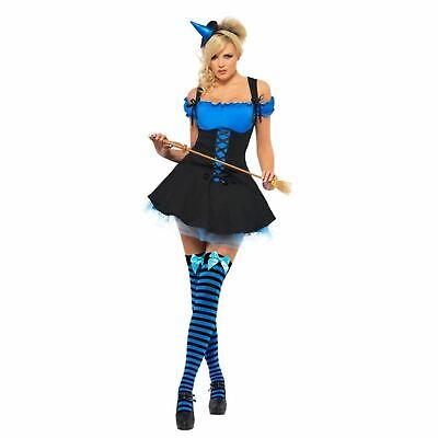 Erwachsene Damen Halloween Böse Hexe Blau Halloween Kostüm Märchen Kostüm ()