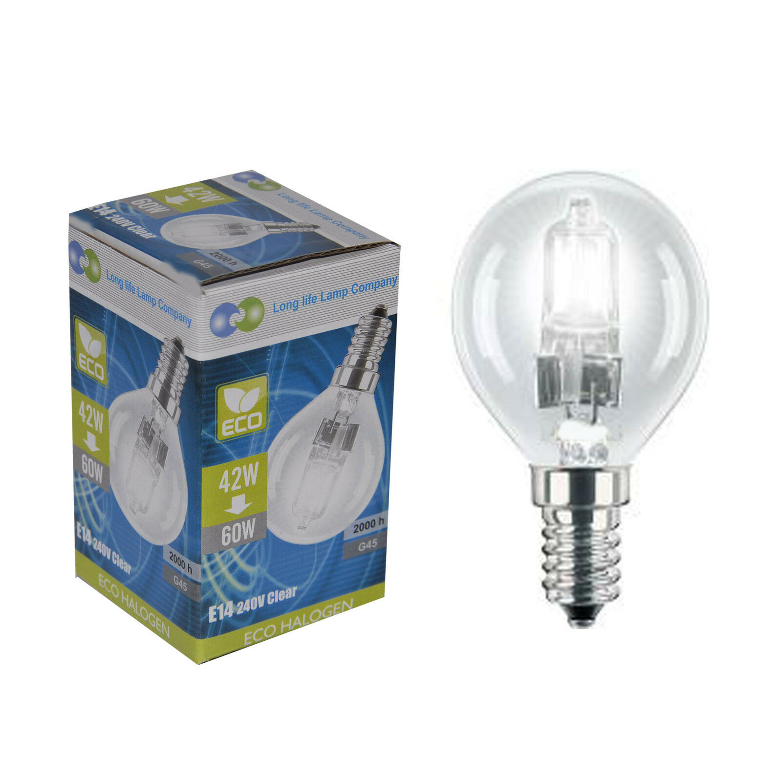 2 Eco Halogen Energy Saving Golf Balls Light Bulb 42w 60w E14 Ses Edison Screw Ebay