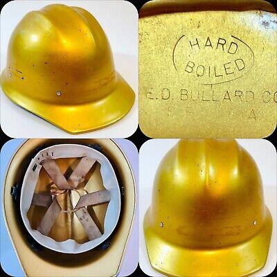 Nice Vintage Rare Gold Bullard 502 Aluminum Hard Boiled Hard Hat Ironworker