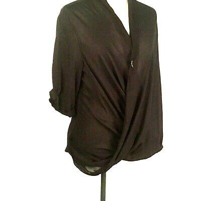 Helmut Lang Black Draped Wrap Top Rayon USA Button Closure Loose Fit Size P