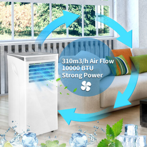 10000 BTU Portable Air Conditioner 3 Modes Cooling Dehumidification Fan W/Remote