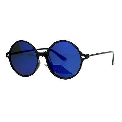 Womens Thin Light Weight Sunglasses Black Round Circle Frame Mirror (Black Circle Frame Sunglasses)